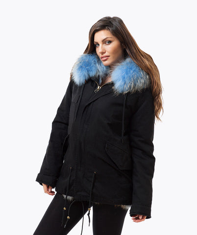 BLACK LUXY FUR PARKA - LIGHT BLUE
