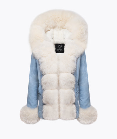 1 LIGHT BLUE CUFFED PLATINUM PARKA