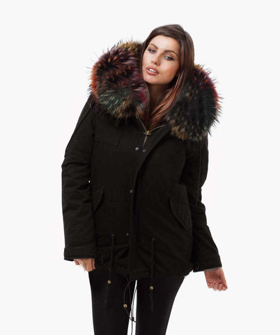 BLACK LUXY FUR PARKA - MULTI