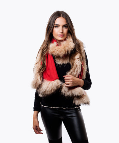 CASHMERE RACCOON FUR TRIMMED SCARF/SHAWL - RED
