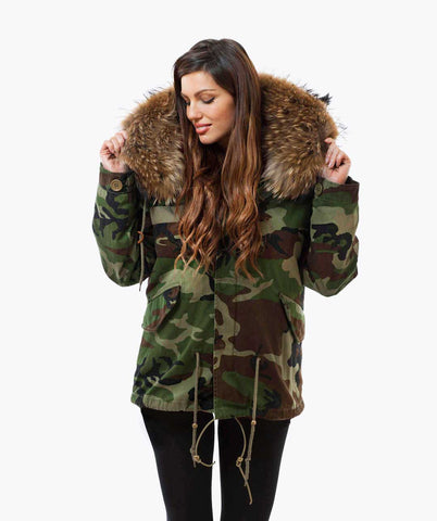 CAMO LUXY FUR PARKA - NATURAL