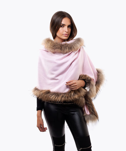 CASHMERE RACCOON FUR TRIMMED SCARF/SHAWL - BABY PINK