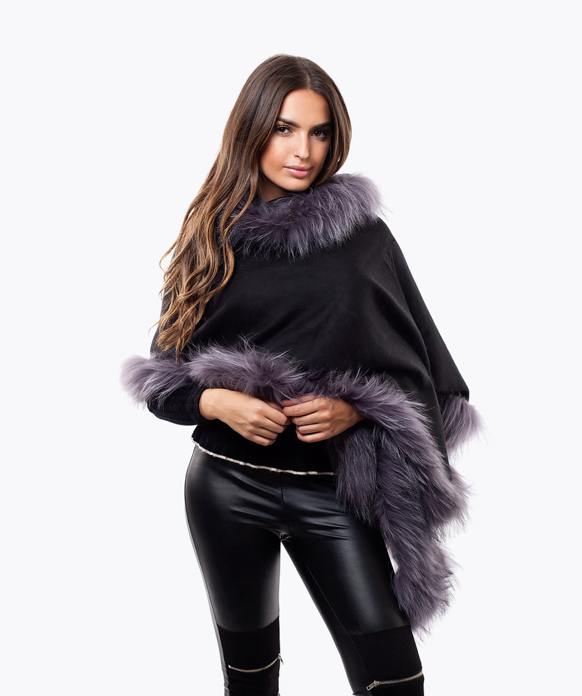 CASHMERE RACCOON FUR TRIMMED SCARF/SHAWL - SILVER FUR - BLACK
