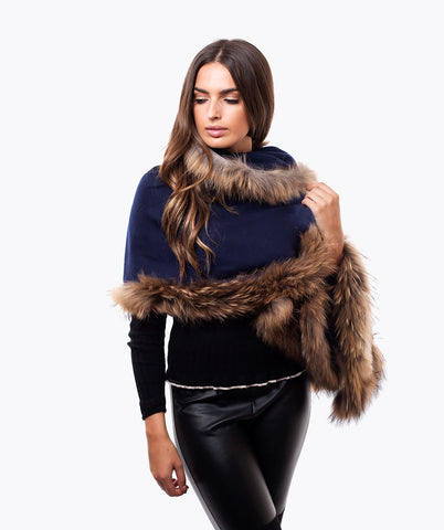 CASHMERE RACCOON FUR TRIMMED SCARF/SHAWL  NAVY