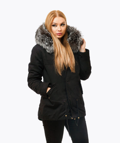 BLACK LUXY FUR PARKA - SILVER FOX