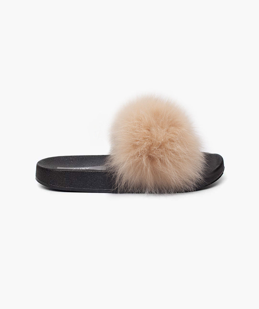 MINIS LUXY FOX FUR SLIDERS - APRICOT