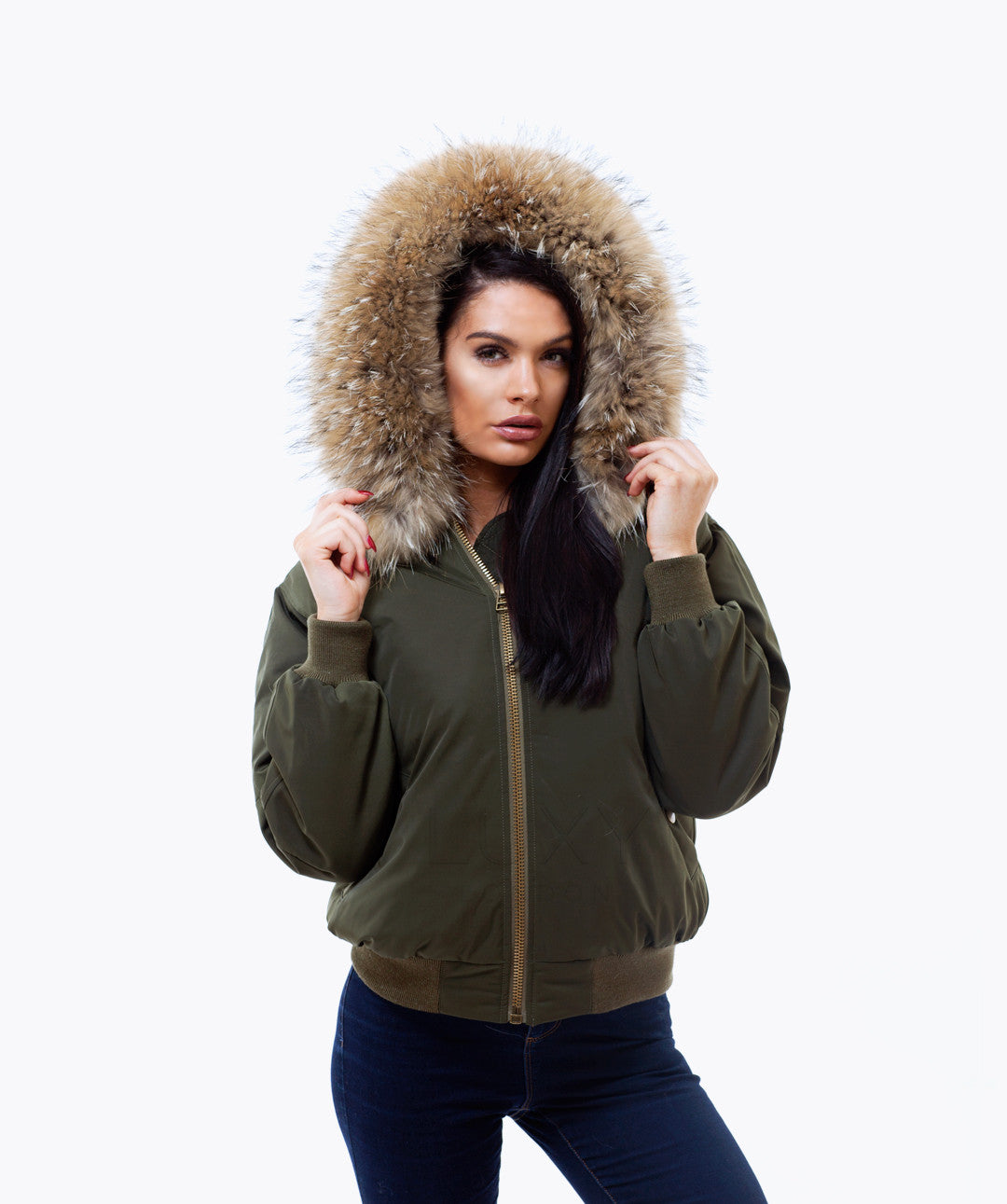 KHAKI LUXY FUR BOMBER  - NATURAL