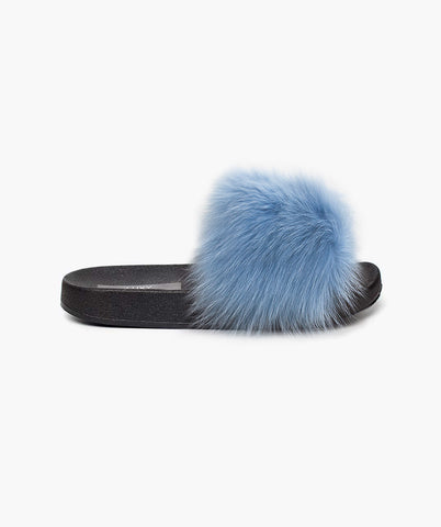 LUXY FOX FUR SLIDERS - BABY BLUE