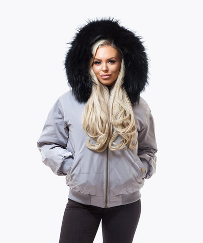 GREY LUXY FUR BOMBER  - BLACK