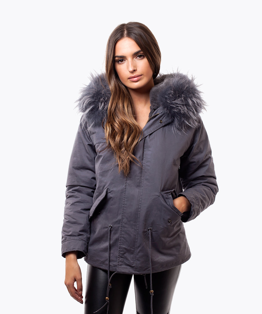 LIMITED EDITION GREY LUXY FUR PARKA - GREY