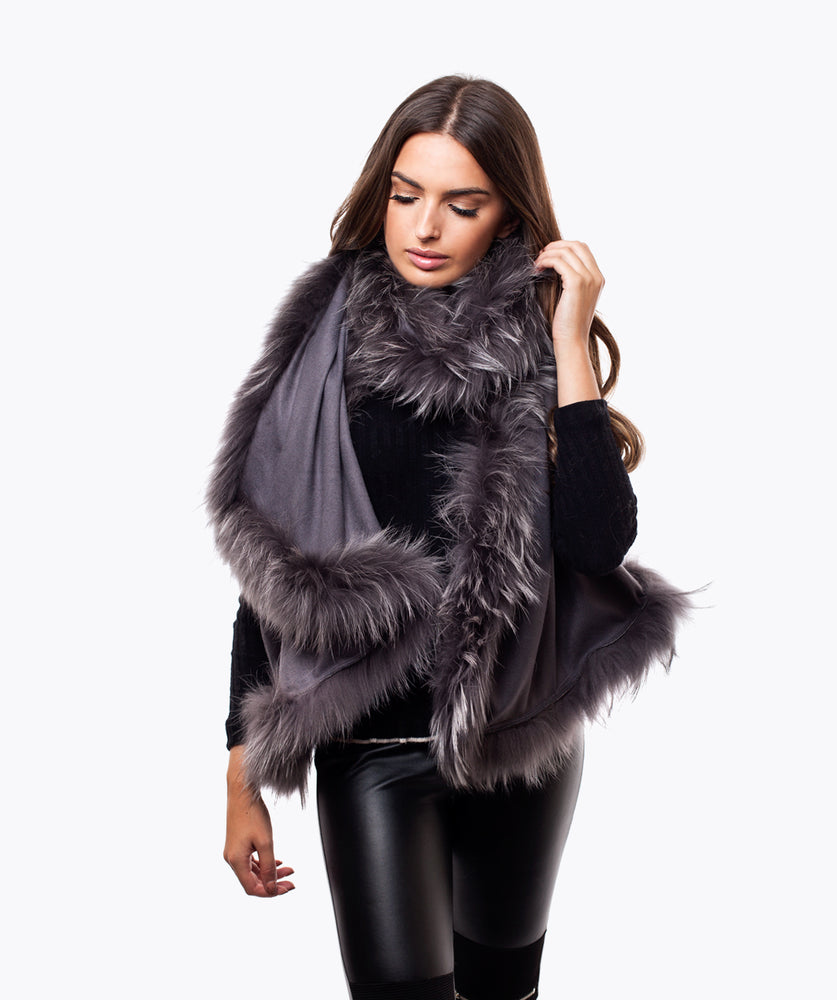 CASHMERE RACCOON FUR TRIMMED SCARF/SHAWL  - MATT GREY