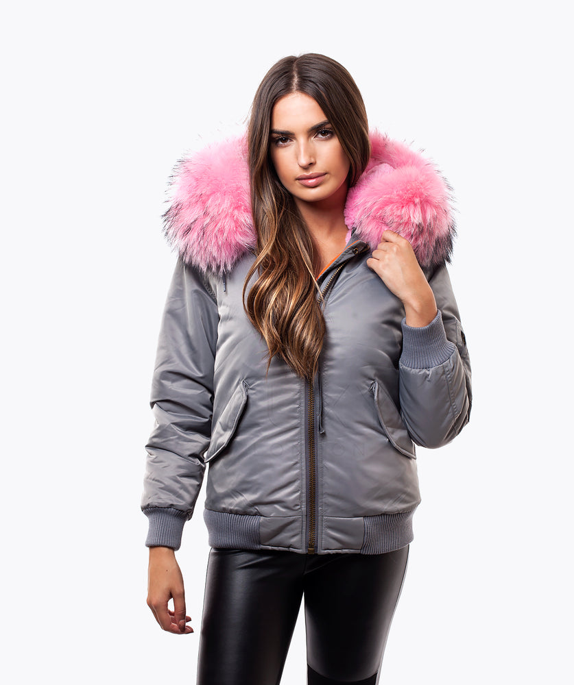 GREY LUXY WOMENS BOMBER - BUBBLEGUM PINK