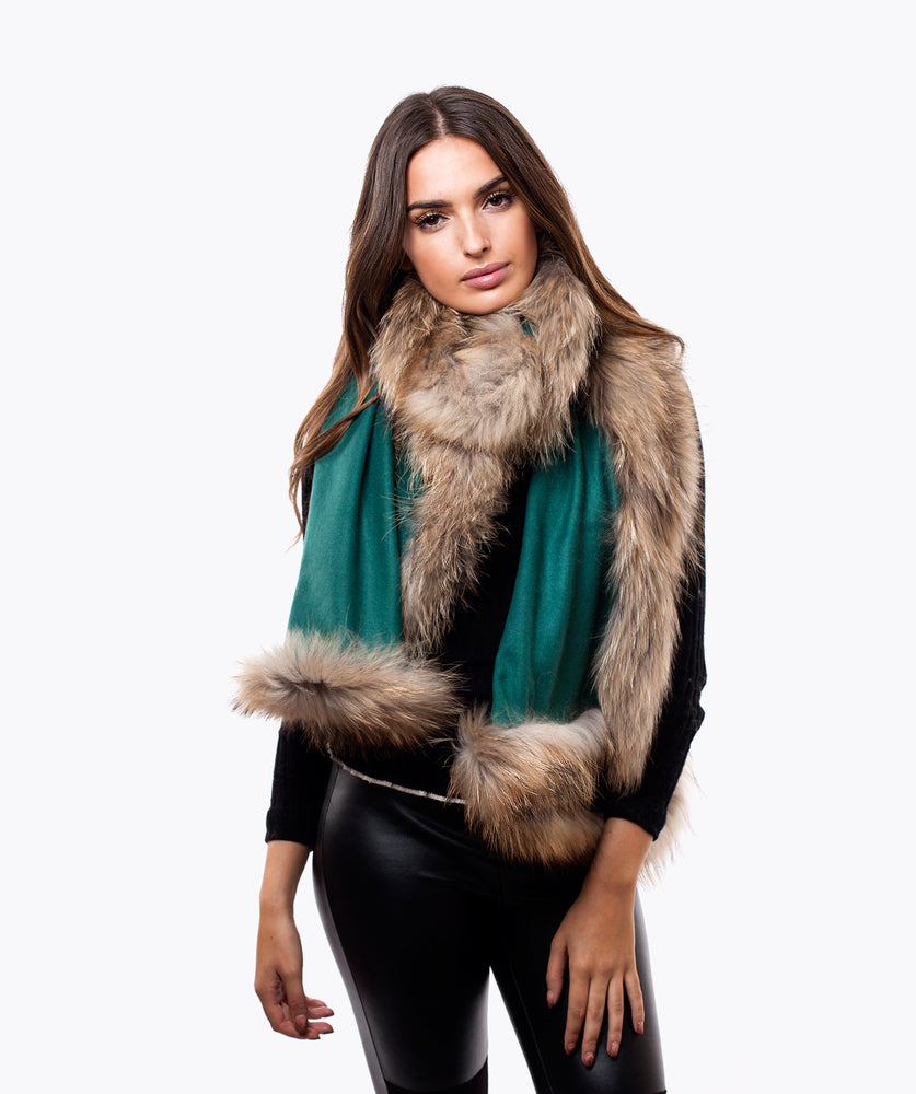 CASHMERE RACCOON FUR TRIMMED SCARF/SHAWL - EMERALD