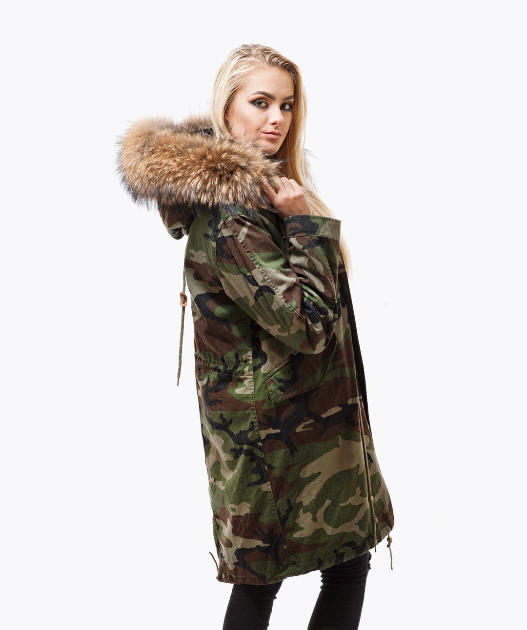 CAMO LUXY FUR PARKA - 3/4 NATURAL