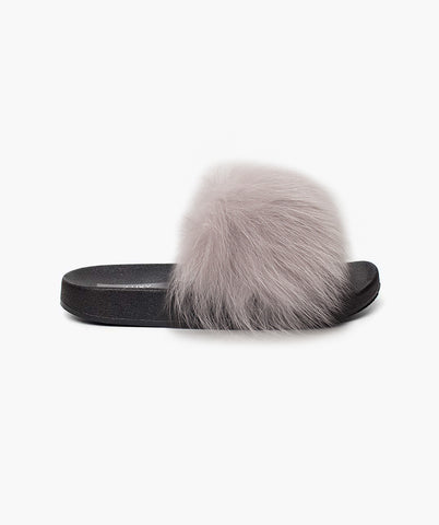 LUXY FOX FUR SLIDERS - LIGHT GREY