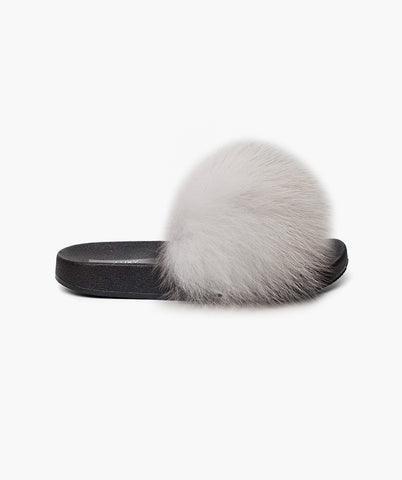 LUXY FOX FUR SLIDERS - SNOW