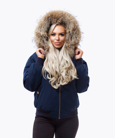 NAVY LUXY FUR BOMBER  - NATURAL