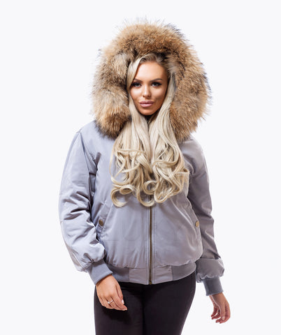 GREY LUXY FUR BOMBER  - NATURAL