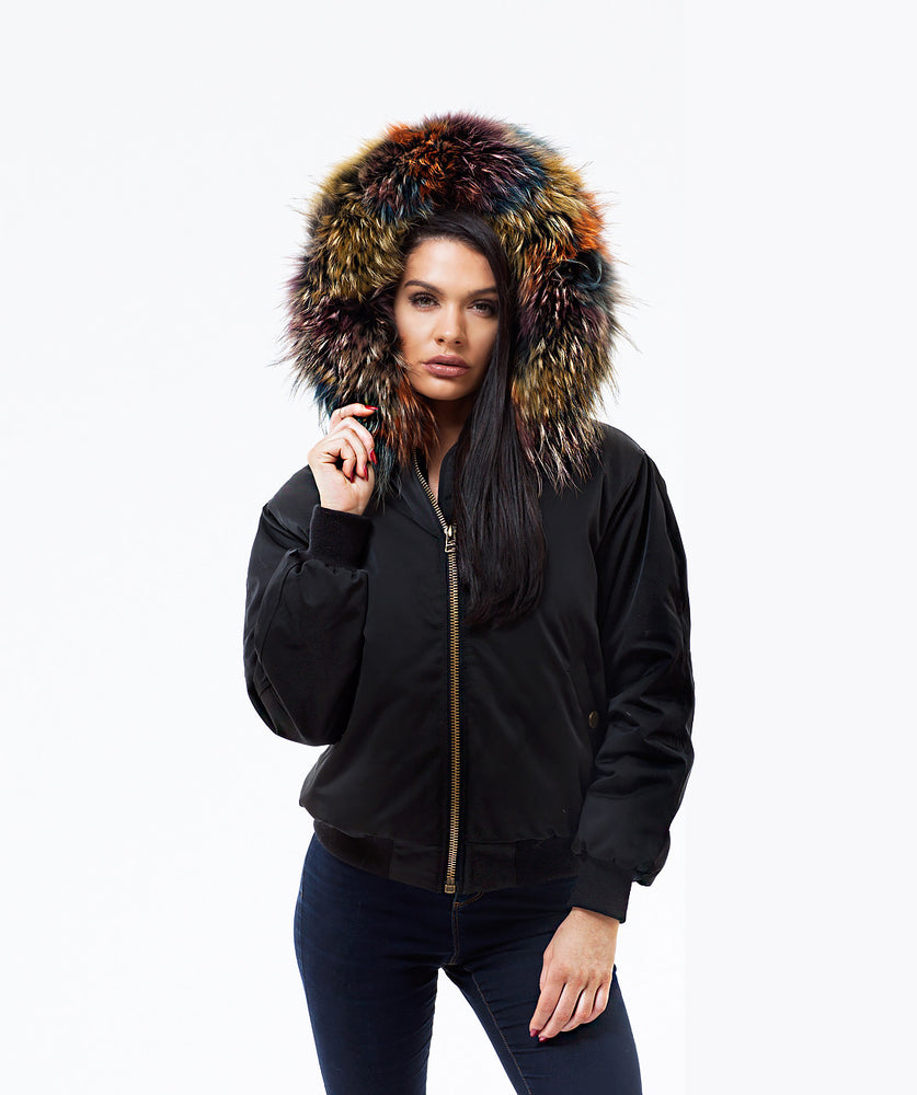 BLACK LUXY FUR BOMBER  - MULTI