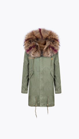 KHAKI LUXY FUR PARKA - 3/4 RASPBERRY FLASH