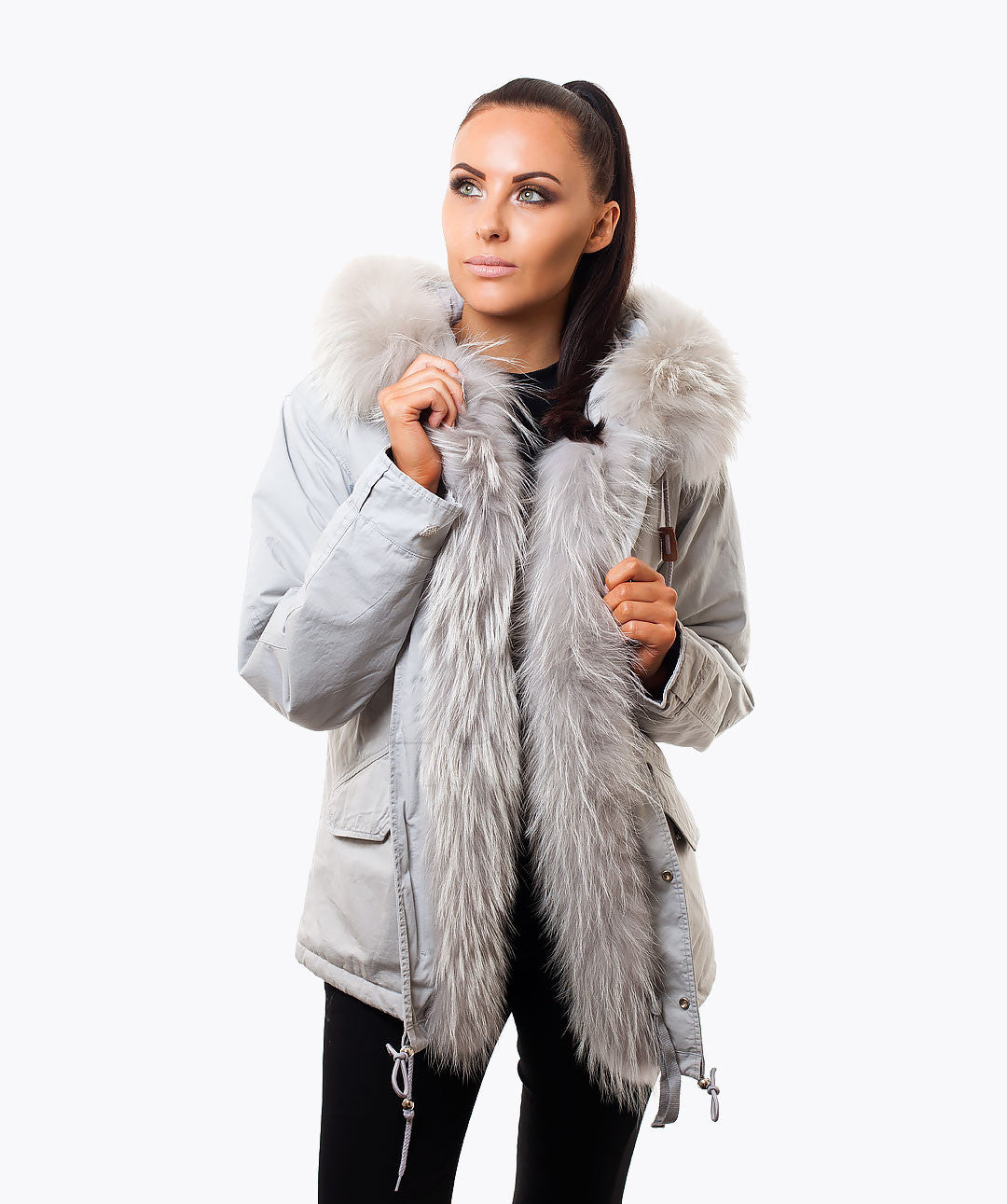 NEW: LIGHT GREY LUXY FUR PARKA - ICE GREY