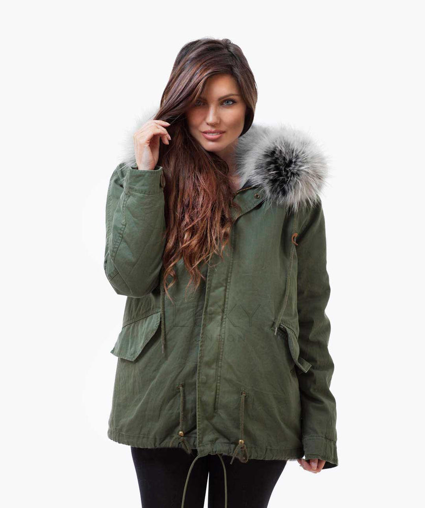KHAKI LUXY FUR PARKA - ICE WHITE