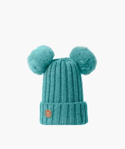 DOUBLE KIDS POM POM HAT - AQUA