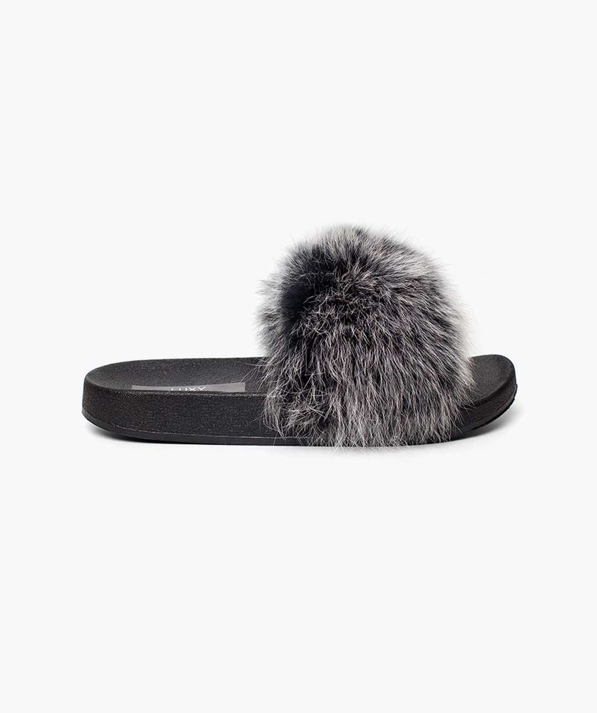 MINIS LUXY FOX FUR SLIDERS - MIST
