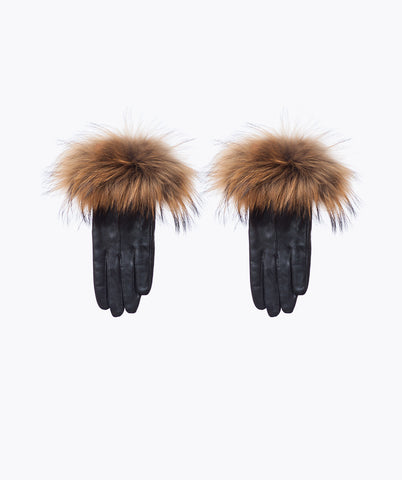 Black Leather and Racoon Fur Gloves