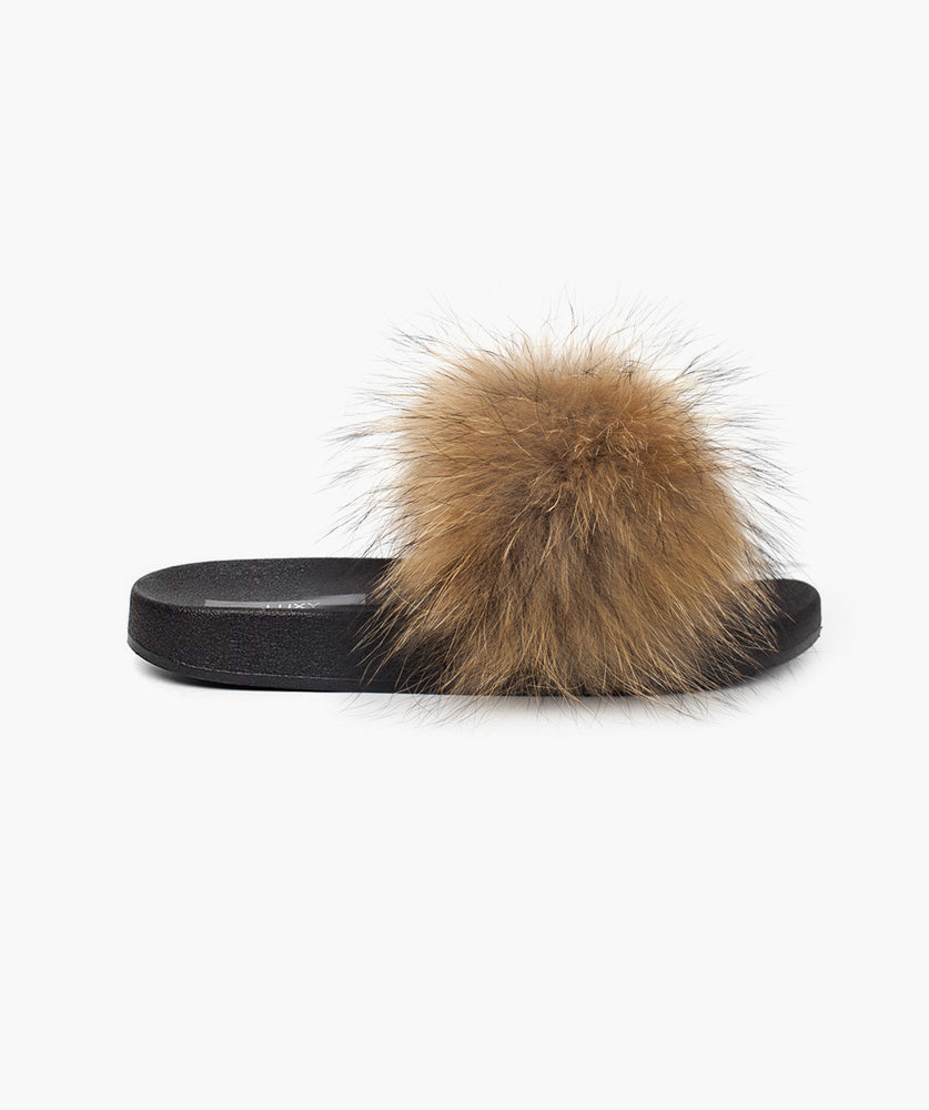 MINIS LUXY FOX FUR SLIDERS - NATURAL