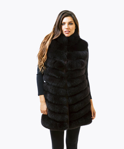 Fox Fur Gilet - Chocolate