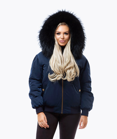 NAVY LUXY FUR BOMBER  - BLACK