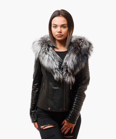 LUXY BIKER - BLACK LEATHER & SILVER FOX