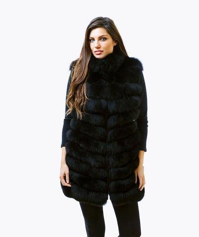 Fox Fur Gilet - Black