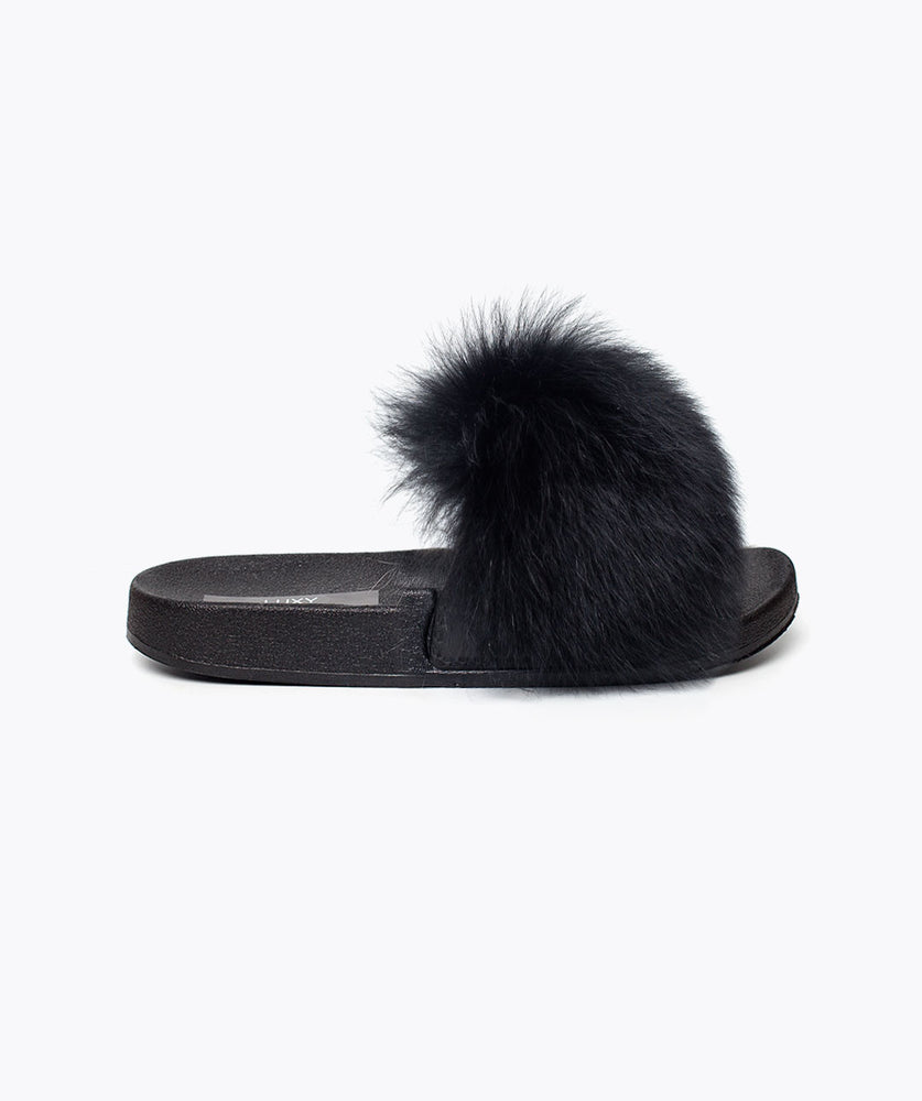 MINIS LUXY FOX FUR SLIDERS - BLACK