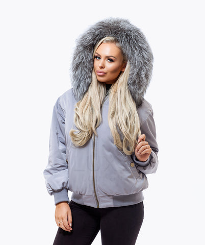 GREY LUXY FUR BOMBER  - SILVER FOX
