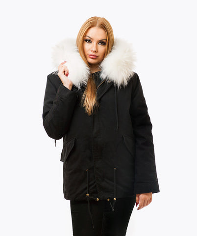 BLACK LUXY FUR PARKA - WHITE