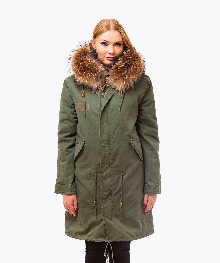 KHAKI LUXY FUR PARKA - 3/4 NATURAL