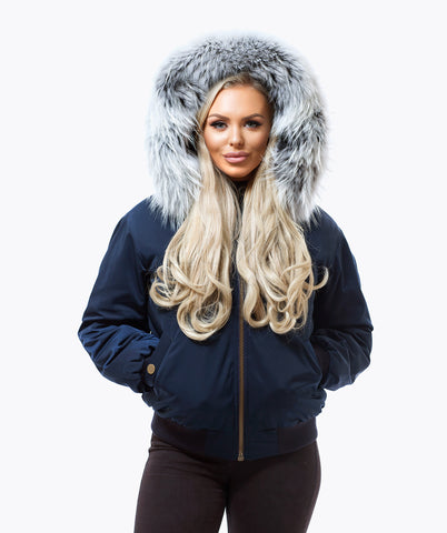 NAVY LUXY FUR BOMBER  - ICE WHITE