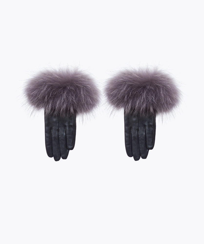 Black Leather and Racoon Fur Gloves - Grey
