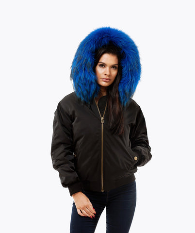 BLACK LUXY FUR BOMBER  - COBALT BLUE