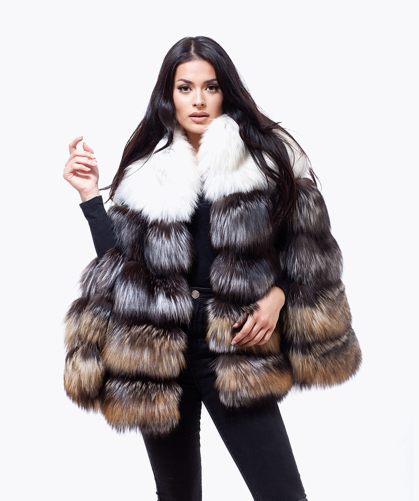 TRI COLOUR ARCTIC FOX FUR PLATINUM CAPE