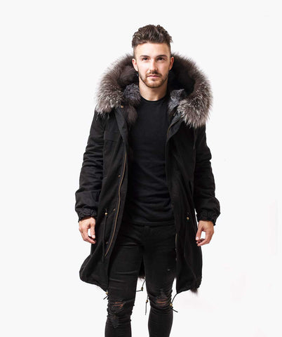 BLACK LUXY FUR PARKA - 3/4 SILVER FOX