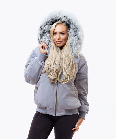 GREY LUXY FUR BOMBER  - ICE WHITE