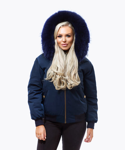 NAVY LUXY FUR BOMBER  - NAVY
