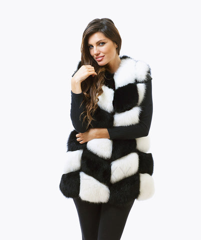 Fox Fur Gilet - Black & White