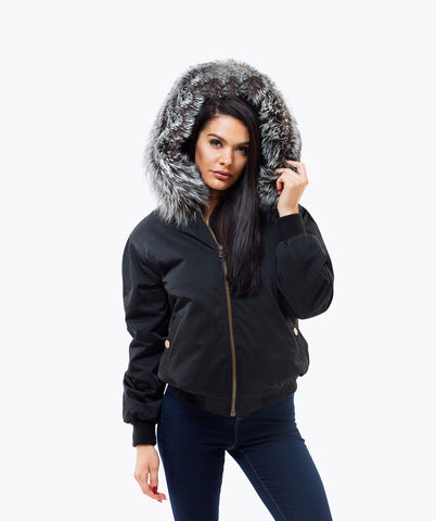 BLACK LUXY FUR BOMBER  - SILVER FOX