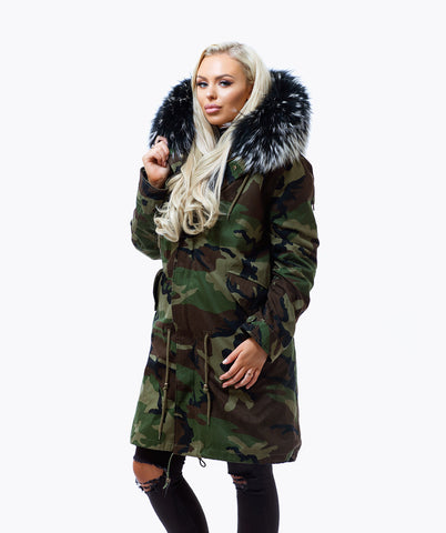 CAMO LUXY FUR PARKA - 3/4 BLACK MIST -LIMITED EDITION-