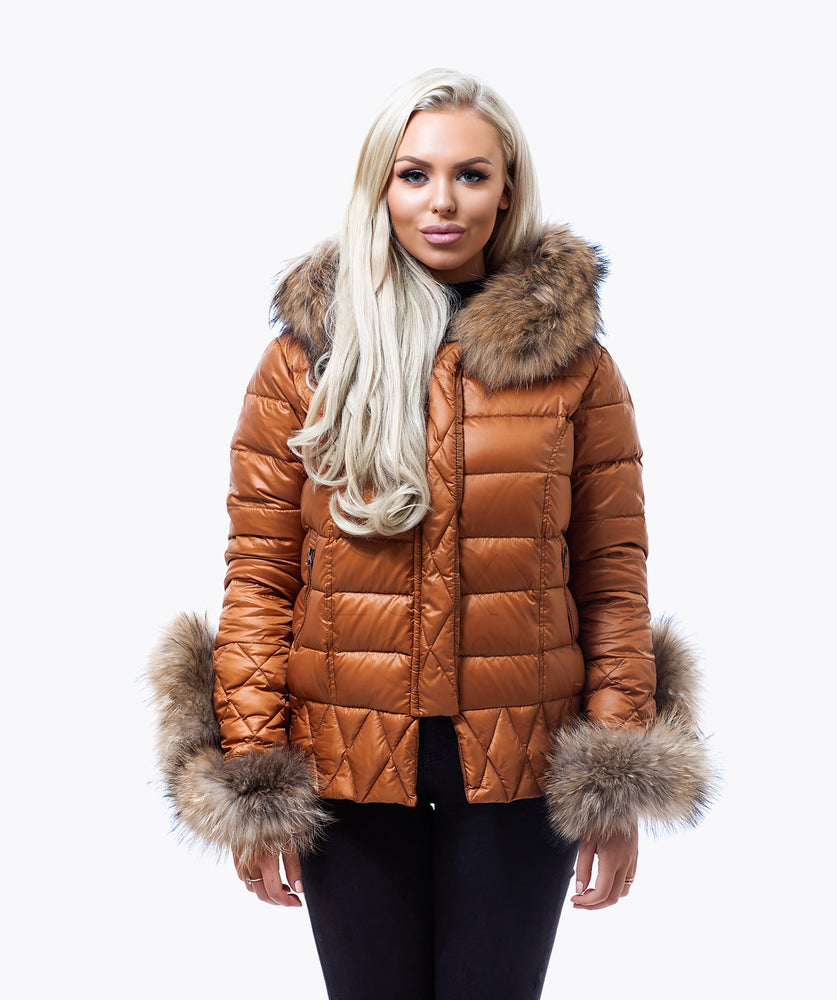 Tan Quilted Down Jacket - Natural