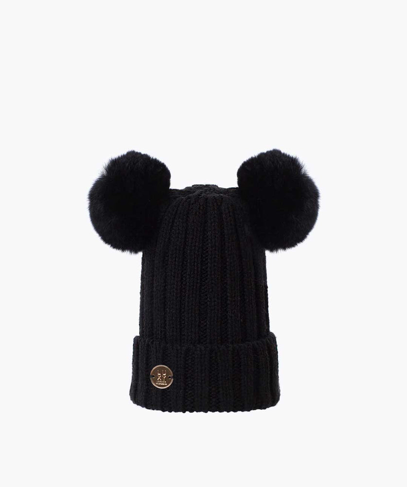 DOUBLE KIDS POM POM HAT - BLACK